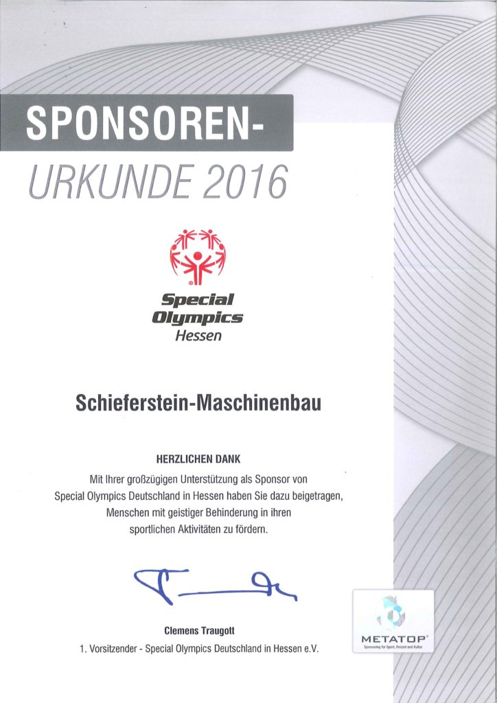 Special Olympics - Sponsoring 2016